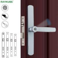RAYKUBE биометрический дверной замок отпечатков пальцев смарт карта без ключа разблокировка электронный дверной замок врезной для дома офиса
