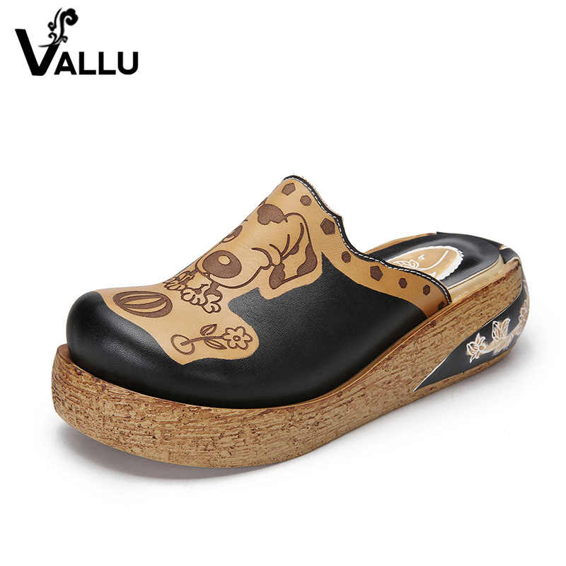 2018 VALLU zapatos de verano mujeres Slippper plataforma plana cubierta dedos de los pies de cuero genuino talón grueso suave cómodo exterior zapatillas