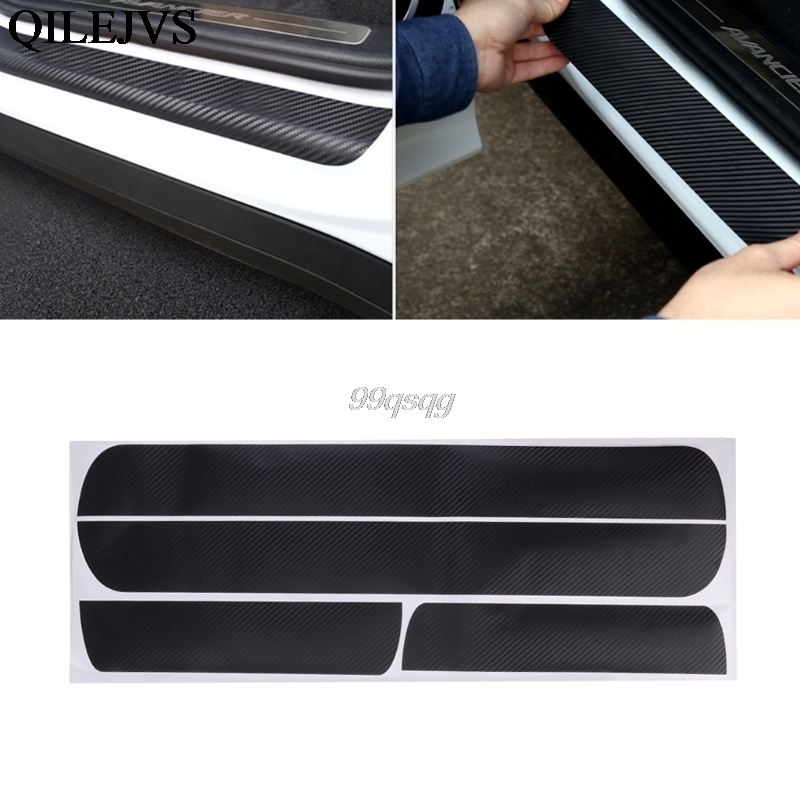 4 Pcs Car Styling Door Scuff Sill Plates Step Plate Protector Carbon Sticker For Chevrolet Cruze Sedan decoration and protection carbon fiber vnyl door sill scuff plate welcome pedal threshold protect stickers for mazda cx 5 cx5 2014 2015 8pcs car styling