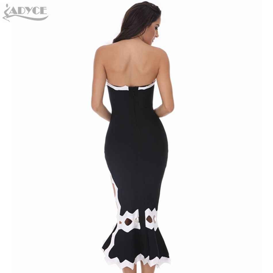ADYCE 2019 Новый Для женщин Русалка Бандажное платье Vestidos пикантные туфли с вырезами без бретелек и черного цветов в стиле «пэчворк»; подиумная модель вечерние Клубное платье
