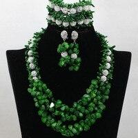 Zielona Coral Nigerii Afryki Koraliki Biżuteria Ustaw Afryki Chunky Komunikat Bib Naszyjnik Zestaw Srebrny Cyrkon Darmowa Wysyłka QW293