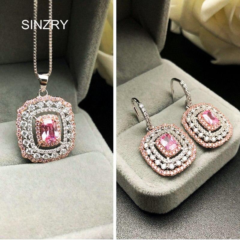 SINZRY 2018 Fashion Party CZ jewelry set Elegant Romantic 6.5ct. Big Flashing Pink zircon Earring necklace set for Women Gift