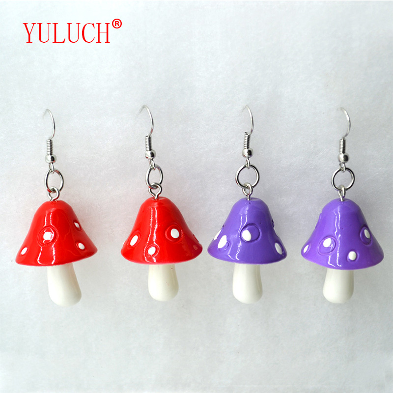 YULUCH 2018 Fashion Woman Sweet Fresh Handmade Plastic Simulation Mushroom Earring Jewelry Accessories Gift