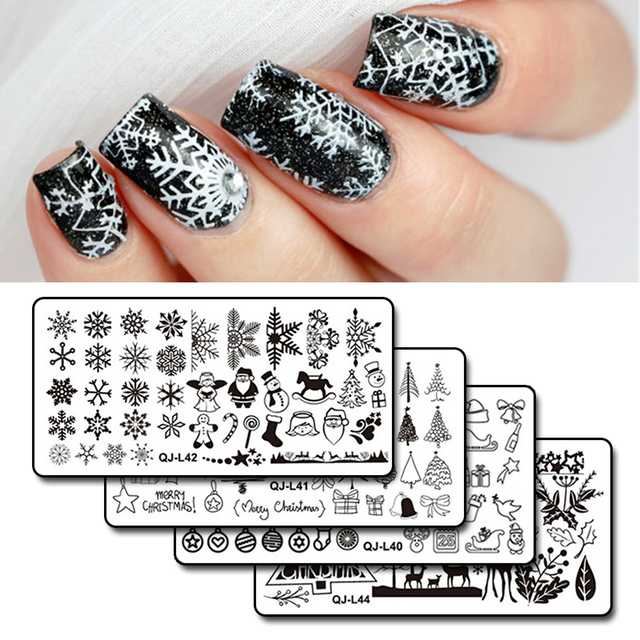 1pc Rectangle Christmas Nail Stamping Template Snowflakes Winter