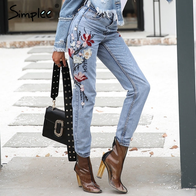 Simplee Fashion floral embroidery jeans female Casual mom high waist jeans pants Summer light blue long denim pants women 2017