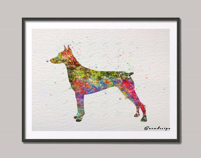DIY Original Doberman Pinscher watercolor canvas painting Dog wall art poster print Pictures living room Decoration wall hanging