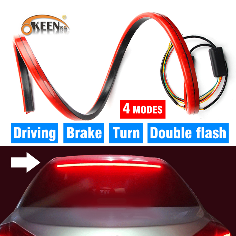 Okeen Red Third Brake Light Led Stop Signal Strip 100cm Car Additional Brake Lights 12v Flexible Rear Window Safety Warning Lamp
