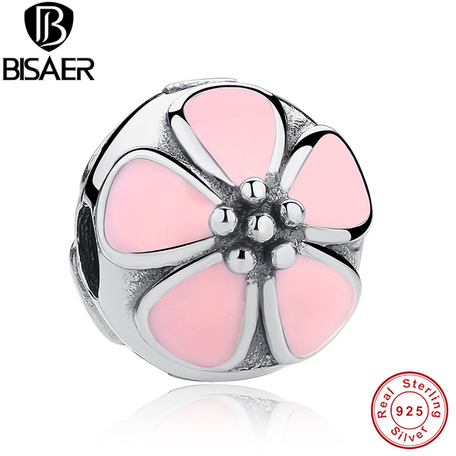 a83059467 Authentic 925 Sterling Silver Stunning Cherry Blossom Clip Pink Enamel Charm  Fit Pandora Bracelet & Bangle