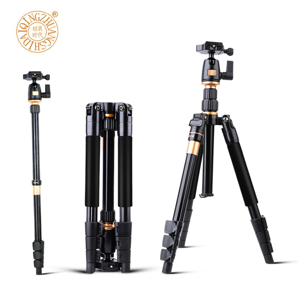 QZSD Q555 55.5 Inches Aluminium Alloy Folding Portable Travel DSLR Camera Video Tripod Monopod with Quick Release Plate Pan Head aluminium alloy professional camera tripod flexible dslr video monopod for photography with head suitable for 65mm bowl size