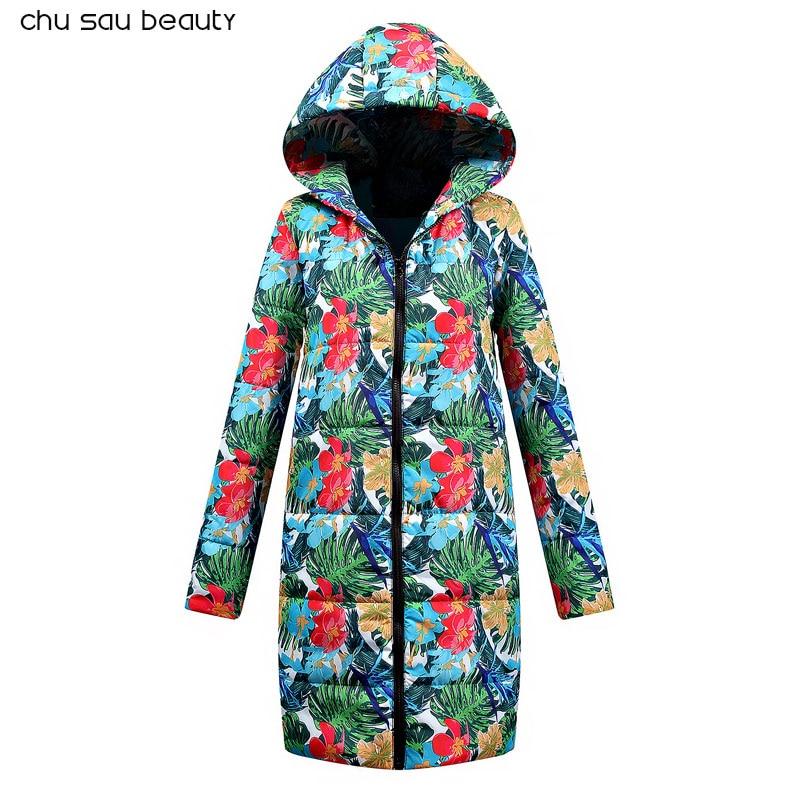 2018 Winter Coat Women New Print Parka Casual Cotton Coat Winter Jacket Fur Coat Women