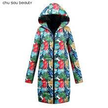 2018 зимнее пальто женская новая парка с принтом повседневное хлопковое пальто зимняя куртка меховое пальто женская одежда плотное хлопковое пальто CY1619