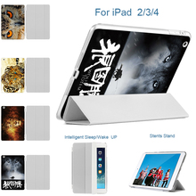 MTT For Apple iPad 2 3 4 3D Print Wolf Lion Case Cover For New iPad 4 iPad 2 Smart Stand Holder Folio Tablet Case