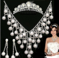2015 Bride wedding necklace earring Tiara crown bridal wedding jewelry 3pcs set with pearl rhinestone jewelry
