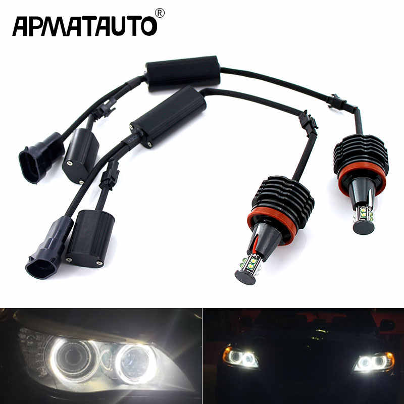 2 stuks 120W H8 LED Angel Eyes Halo Ring Lights Voor BMW E60 E61 E71 E70 LCI E90 E91 x5 Angel Eye Koplamp LED Auto Koplampen