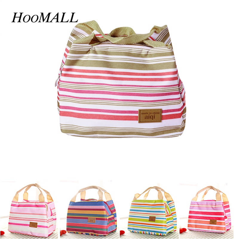 Hoomall Portable Stripe Thermal Lunch Bag Cooler Insulation Lunch Box for Picnic Camping Travel Kitchen Food Bento Container