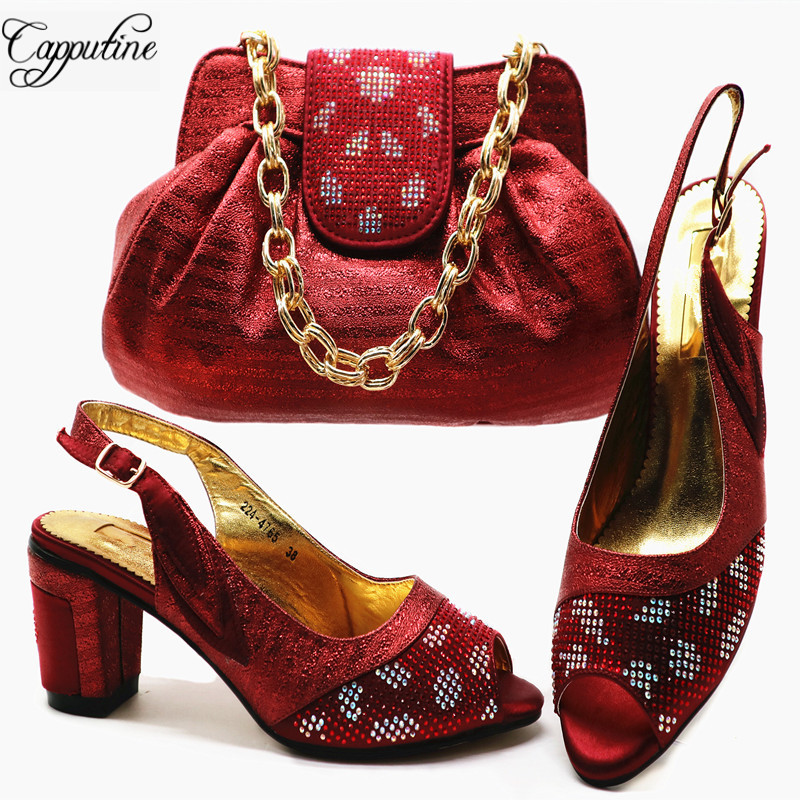 Capputine Latest Italian Shoes With Matching Bags Set Nigerian Party Pumps 6CM Shoes And Bag Set For Wedding Size 38-43 G55 цены онлайн