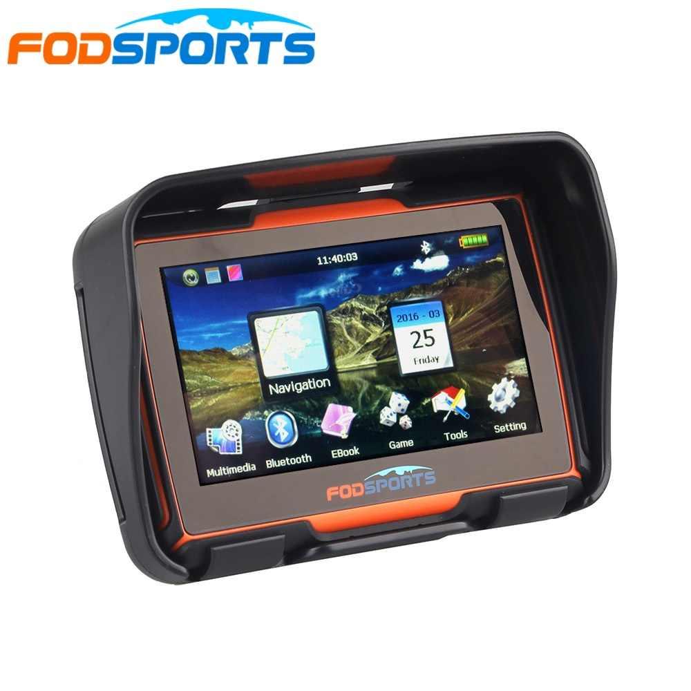 dispositivo di navigazione impermeabile GPS antiurto Navigazione vocale fuoristrada di montagna Arancione Navigatore GPS per moto da 4,3 pollici