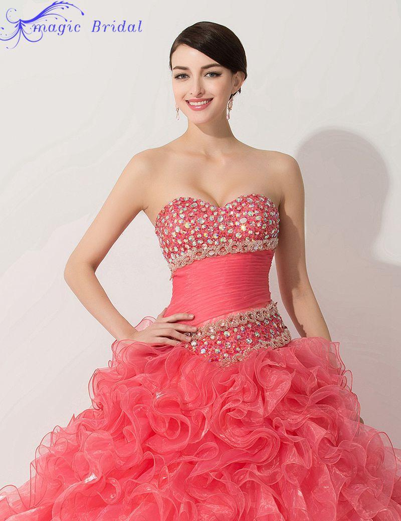 Vestidos De 15 Anos Rosa Real Photos Red Beaded Ruffles Ball Gown ...