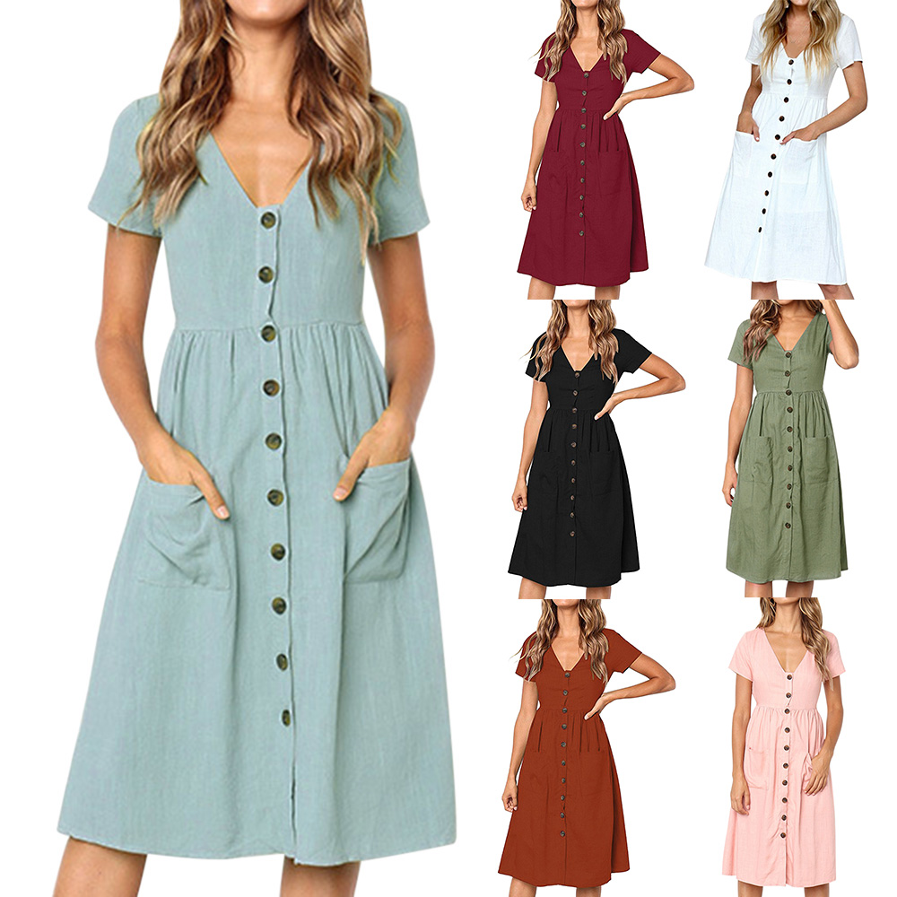 7f22193e165 LASPERAL Women s Fashion Summer Elegant Dresses Short Sleeve V Neck Button  Dress Swing Midi Dresses With Pockets Vestidos – Rebelwear