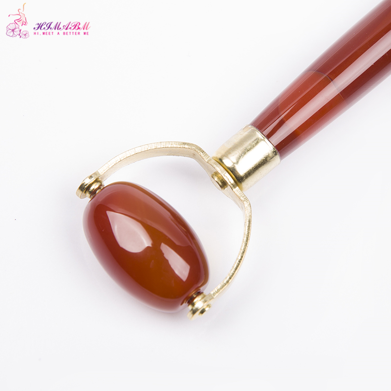 HIMABM Natural jade beauty roller agate carnelian massage facial massage traditional Chinese physiotherapy face lift