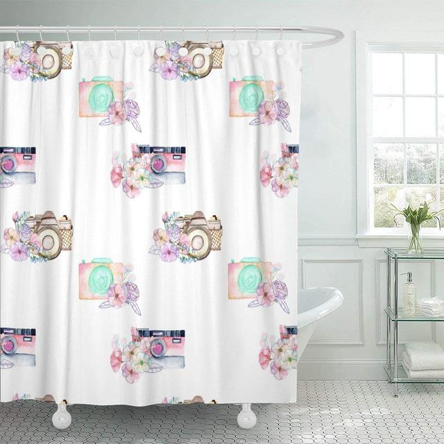 Fabric Shower Curtain With Hooks Blue Empty Watercolor Retro Cameras In Floral White Pink Film Flower Lens Memories