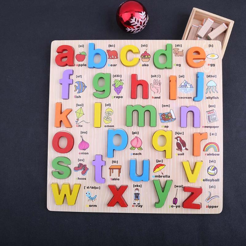 Деревянный Алфавит английские буквы головоломки Для детей развивающие игрушки для детского сада Язык преподавания