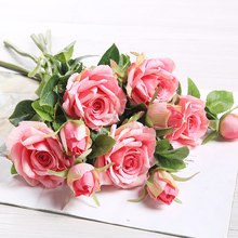 yumai 3pcs/lot 2 Head Pink Rose Artificial Flowers Bouquets Silk Roses Flower for Wedding Centerpiece Party Decoration