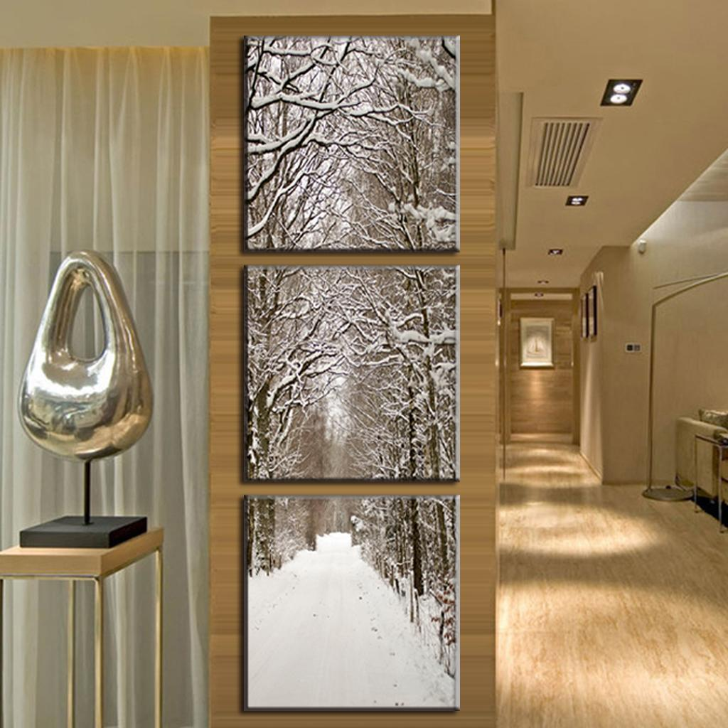 paintings for living room wall bad boy furniture sets 3 pcs/set new arrival art on canvas snowy boulevard ...