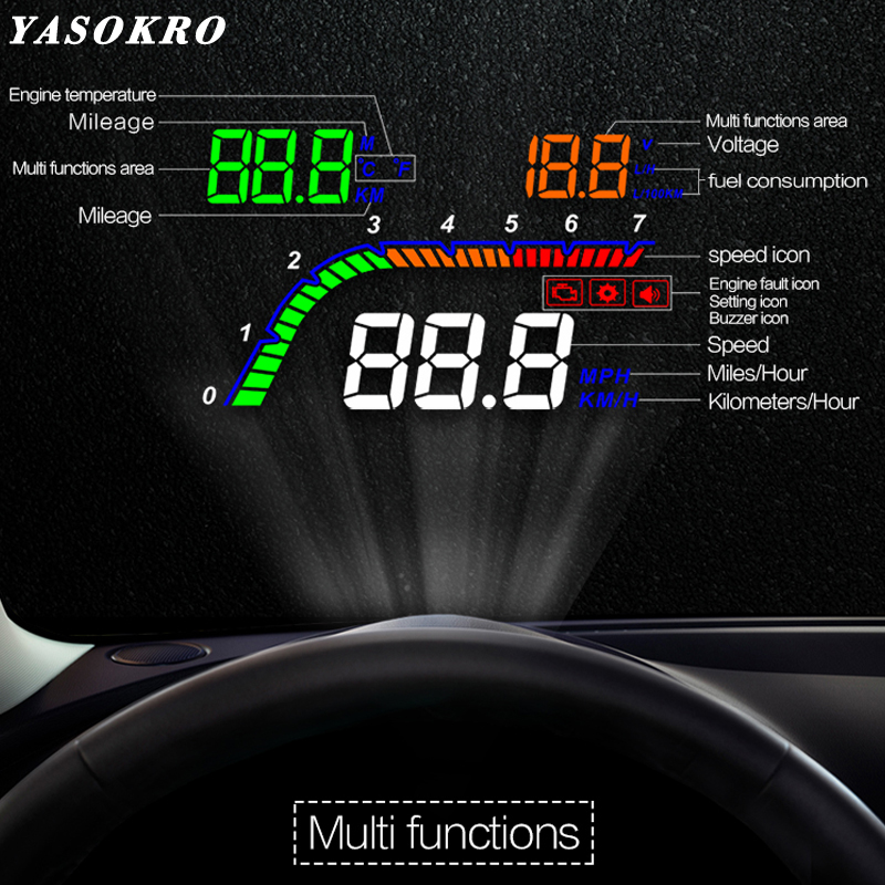 New Arrival 4 inch HUD display T100 Car Head Up Display OBD2 Windshield Projector Over Speed Car Alarm RPM Fuel consumption Wate