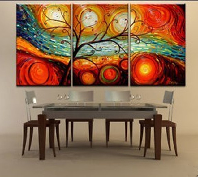 wall art tree panels oil paintigs landscape handpainted acrylic