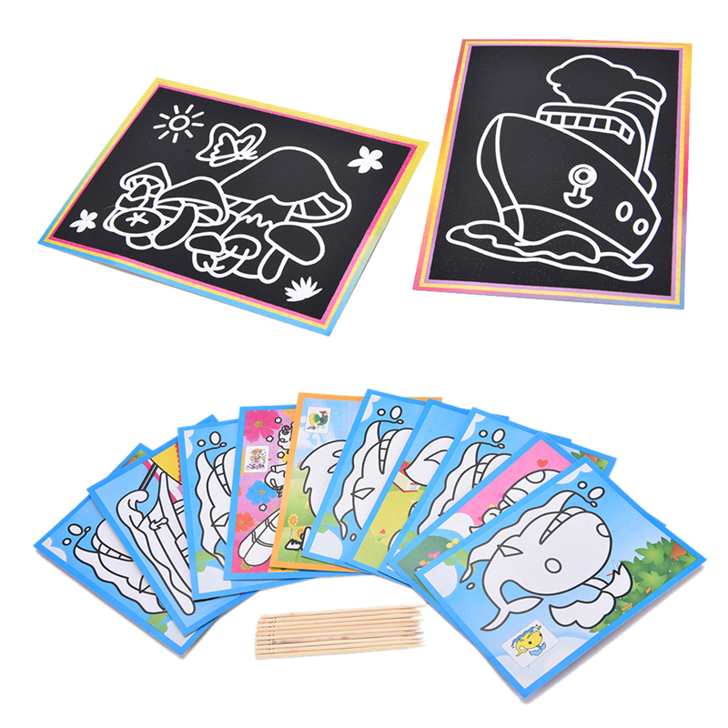 Colorful Magic Scratch Drawing Art Painting Paper Notebook Kids Children Educational Learning Stick Toys 12.7cm X 17.2cm Complete In Specifications Notebooks Office & School Supplies
