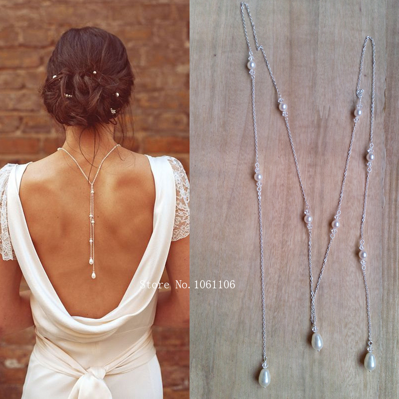 Tie lariat pearl crystal bridal backdrop necklace silver for Back necklace for wedding dress