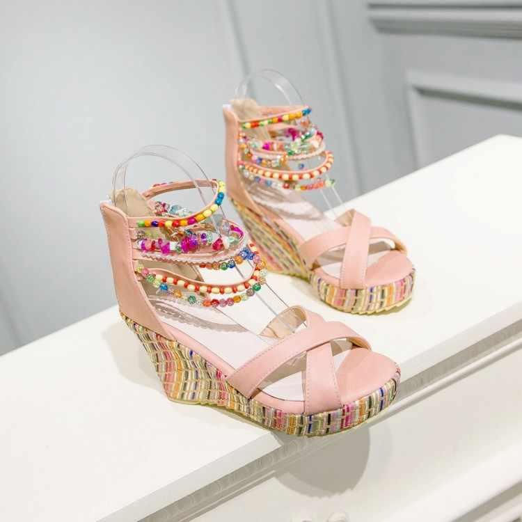 Big Size 9 10 11 12 zeppe scarpe per le donne sandali delle donne scarpe delle signore della donna di estate Colorato in rilievo bocca dei pesci cintura treccia