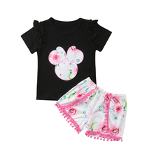 цена на 2019 Summer Toddler Kids Baby Girl Minnie Clothes Set Short Sleeve T-shirt Tops Shorts Casual Infant Baby Girls Clothing