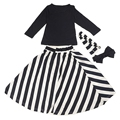 Fashion Kids Baby Girls Solid Long Sleeve Top+Stripe Skirt 2pcs Set Outfits 2T