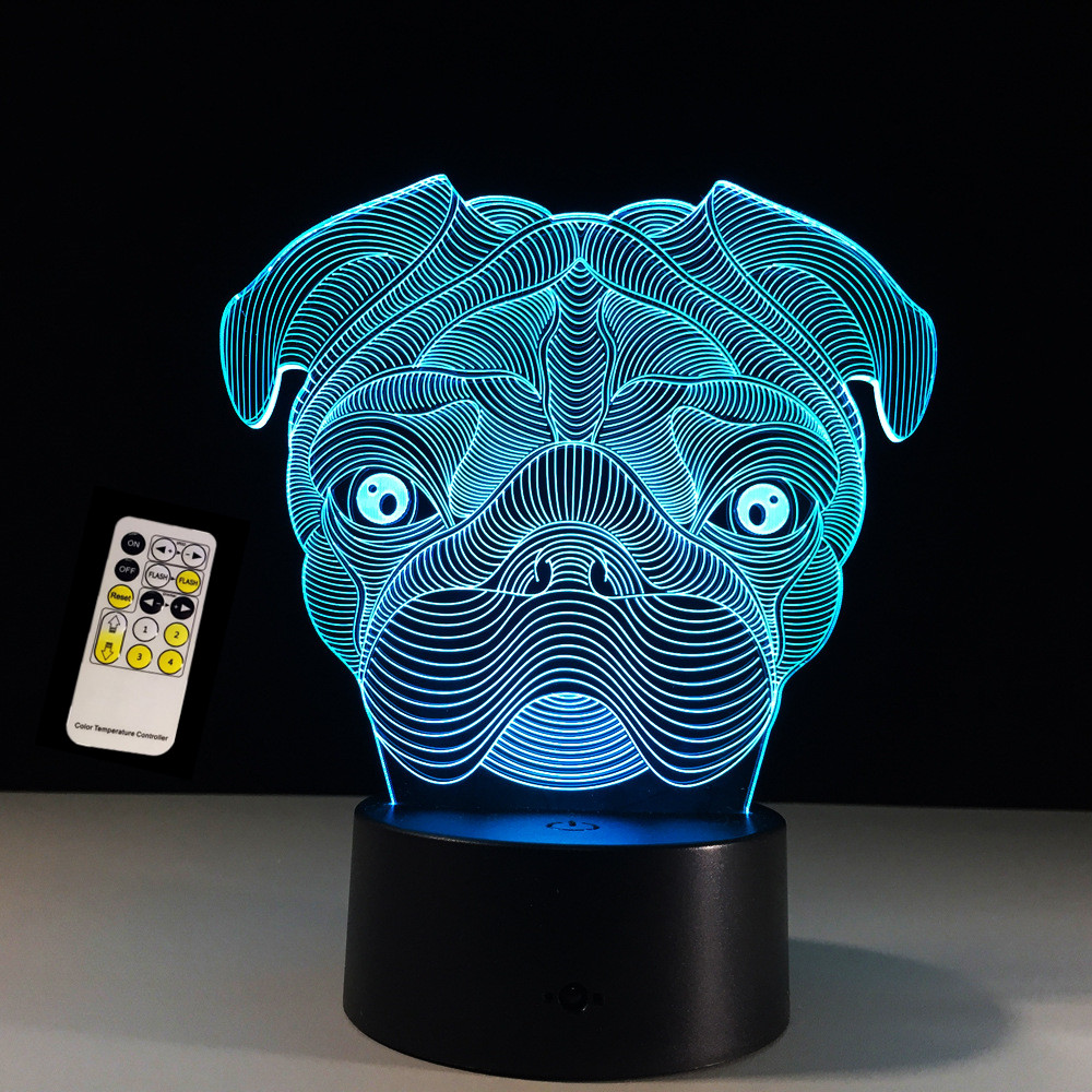 Remote/Touch Control 3D LED Cute Pug Dog Night Light Baby Animal Table Lamps For Home Decor Christmas Gifts For kids Children