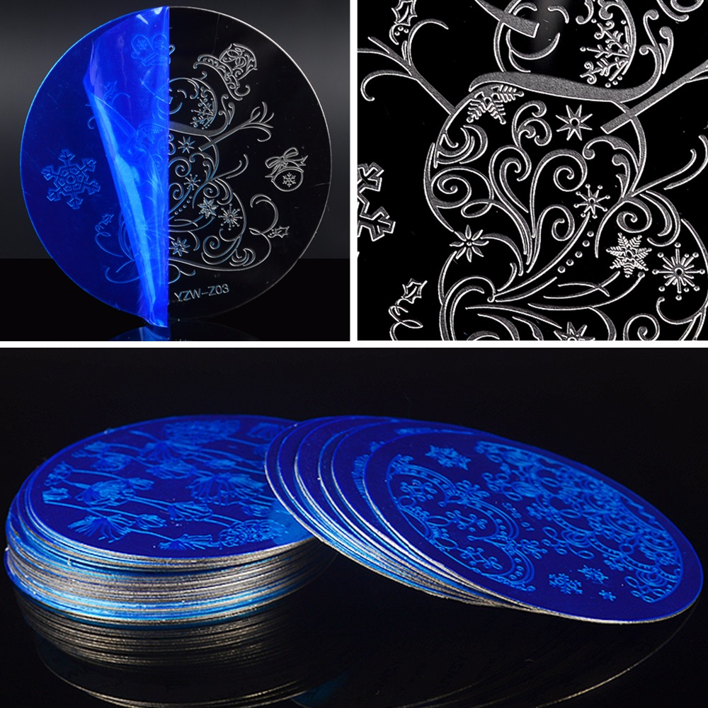 1 Pc DIY Flower Lace Line Patterns Round Steel Templates Nail Art Stamping Plates For Nails Tips Manicure Tool Accessories