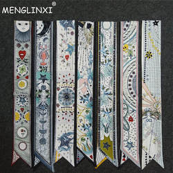 Новый Дизайн Тощий шарф Созвездие печати Для женщин шелковый шарф маленькая ручка сумки лентами женская голова Шарфы и манишки для дам