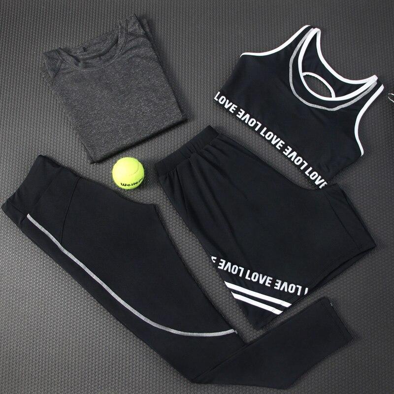 New Women Yoga Set Breathable Letter Patter Gym Clothing Black Round Neck Shrits+Sport Bra+Pants+Shorts 4 Pcs Sport Suit Fitness