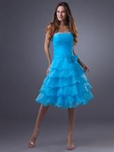 Blau A-linie Knielangen Juniors Homecoming Kleid Trägerlose Abgestufte Organza Teen Cocktailkleider Kurze Abendkleider Perlen gd7708