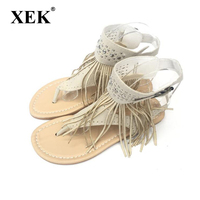 Summer New Bohemia Flat Women Sandals Tassel Woman Flip Flops Vintage Women Shoes Beach Crystal Shoes
