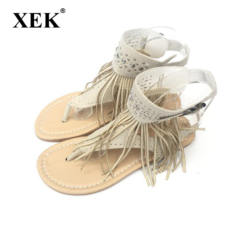 Summer New Bohemia Flat Women Sandals Tassel Woman Flip Flops Vintage Women Shoes Beach Crystal shoes ST247 plardin bohemia summer casual women wedges flat sandals platform 2018 woman ladies beach shoes flip flops genuine leather shoes