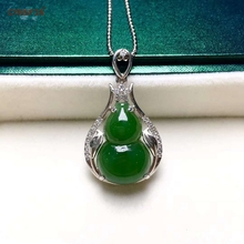 Certified Natural Hetian Jasper Inlaid 925 Sterling Silver Lucky Gourd Jade Pendant Green Hand Carved High Quality Best Gifts certified natural hetian jade jasper inlaid 18k gold lucky gourd jade pendant high quality hand carved s925 necklace best gifts