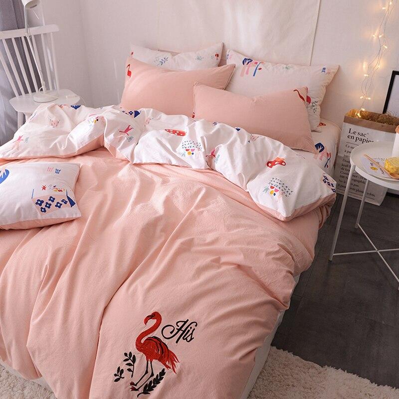 RUIYEE 100% Coton Flamant broderie A/B À DOUBLE USAGE De Luxe Oriental ensemble de Literie Lit ensemble linge de Lit paquet Drap taies d'oreiller