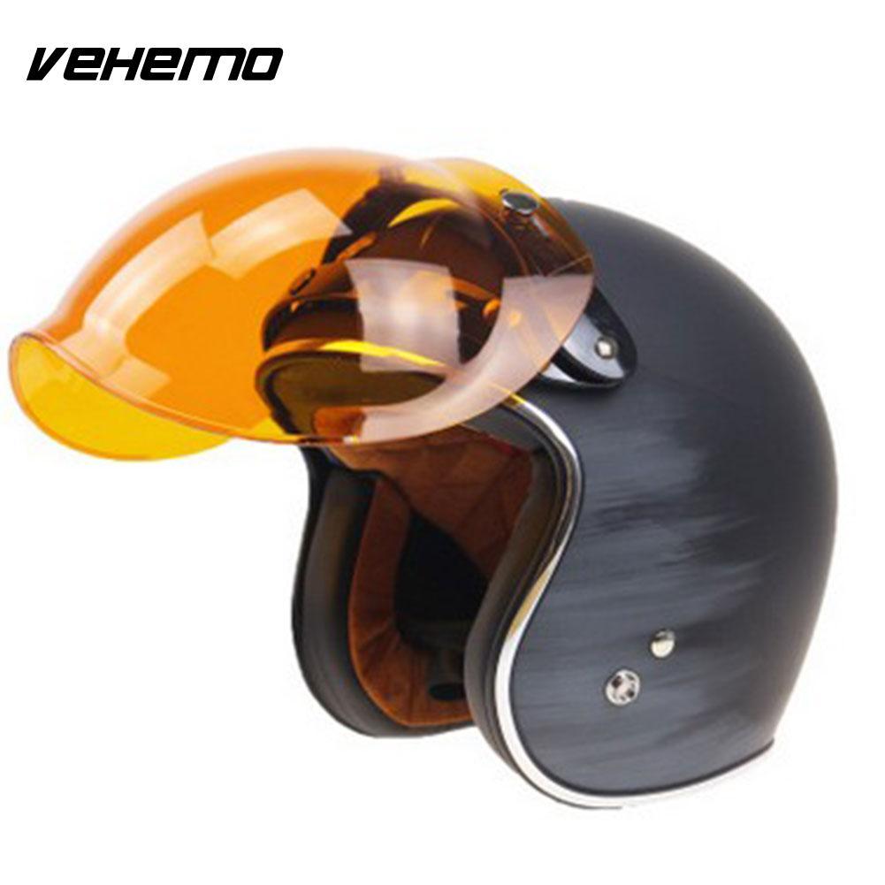 Motorcycle Motorbike Flip Down Retro Helmet Wind Bubble Shield Mirror Lens Base