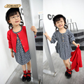 Girls Spring & Autumn Sets 2017 New Children's Leisure Suits Long Princess Polka Dot Dress Cotton Girls Cardigan Overcoat Sets