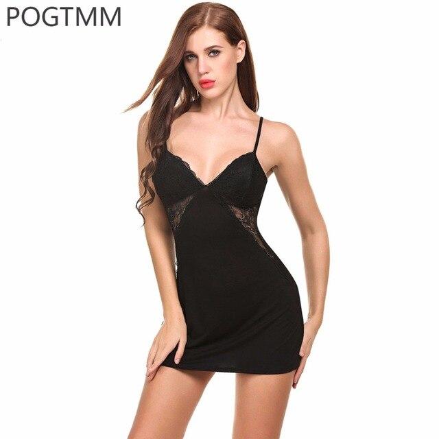 791924a0316a4 الصيف مثير النوم ثوب النوم فستان سهرة النساء الخامس الرقبة مشروط الدانتيل  ملابس نوم قصيرة البسيطة