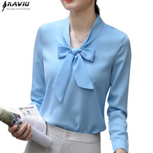 Naviu Autumn New Fashion Temperament Bow Tie Shirt Elegant Long Sleeve Chiffon Blouses Office Ladies Plus Size Tops Sky Blue