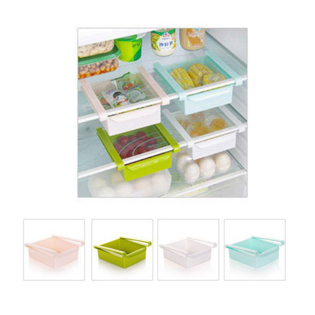 kitchen accessories space saver fridge storage box slided plastic