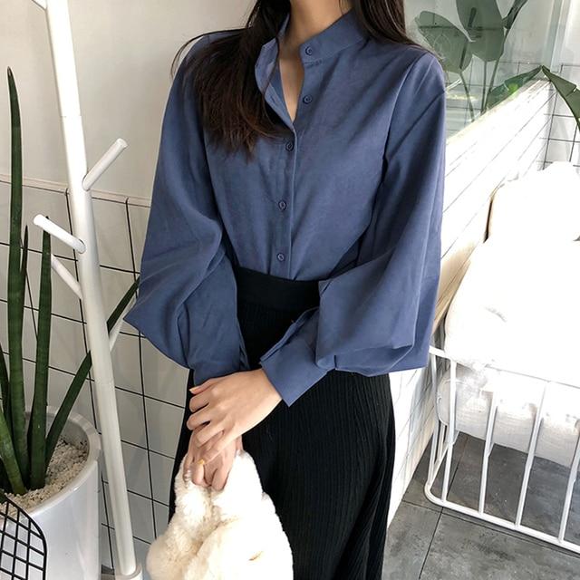 Vintage col montant lanterne manches Blouse chemise femmes simple boutonnage solide rétro hauts chemises femme chemise 2018
